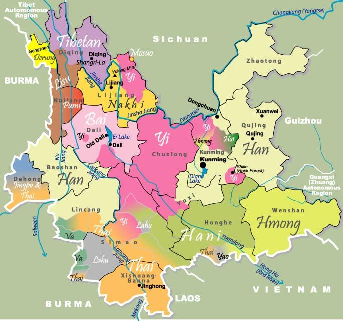 Carte des minorités présentes au Yunnan 1