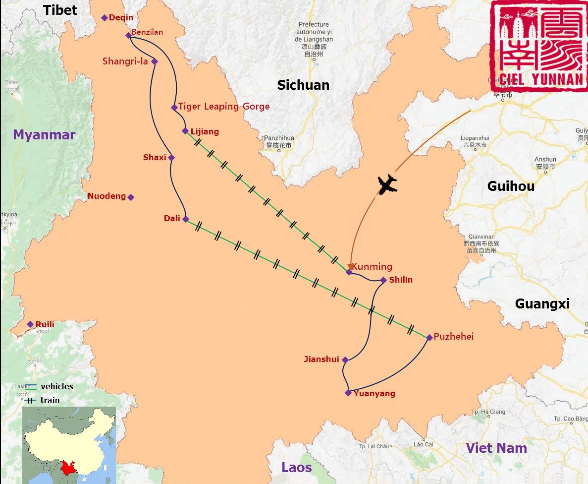 Carte du yunnan circuit Merveilles du Yunnan